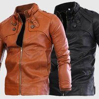 Wholesale 2015 Men Winter Cool Motorcycle Jackets Washing PU Leather Jacket Fashion Slim Fit Stylish Stand Collar Outdoor Jacket For Men J0707