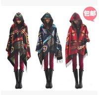 Wholesale Europe Women Scarves Girl OutwearTops Fashion Hooded Thick Warm Cloak Shawl Lady Knitted Tassel Loose Cloaks Length cm A1DE85