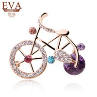 bicycle brooch - New K Rose Gold Plated Zircon Crystal Luxury Bicycle Brooches Wholesales Fashion Jewelry for women Y5532