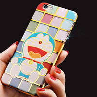 best pc material - Best Sale D Electroplate Cute Cartoon Doraemon Pattern PC Material Hard Color Shell Phone Case Mobile Phone Cover for iPhone s plus