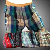 Wholesale 5Pcs Sexy Mens Underwear Boxers Male Cotton Loose cuecas masculinas boxer shorts Men S Home Plaid Underpants Tunks Free