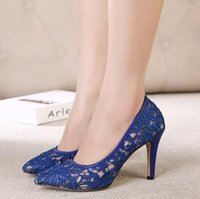 Wholesale Lace Mesh Dress Shoes Stiletto Heel Black Blue Beige Color Mix B2