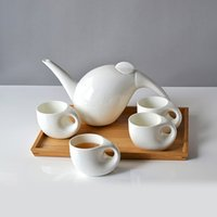 coffee pot tea pot - Innovative Ceramics Tea Set with Bamboo Tray Decorative Porcelain Coffee Cups and Pot China Drinkware Ornament Gift and Craft