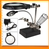 Wholesale 2 X X X LED Light Magnifier Desk Lamp Helping Hand Repair Clamp Alligator Auxiliary Clip Stand Desktop Magnifying Tool A3