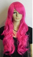 Wholesale Heat Resistant Fiber Fashion Sexy long Curly Pink Cosplay Full Wig Free Wig Cap
