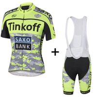 Cheap 2015 Tinkoff saxo bank Cycling Jersey Sets tour de france Short Sleeve bike wear Army Green Fluo Bib Shorts Road Bicycle Clothing XS-4XL