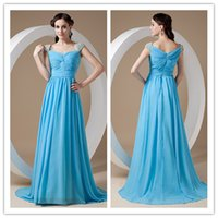 best dress for petite women - Elegant Best Selling Long Blue A line Ruching Chiffon With Cap Sleeves Cocktail Evening Dresses Gowns For Women ed6859