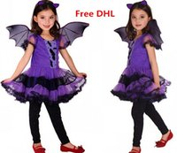 bat wings costumes - Halloween Girls Princess Costume Tutu Dress Bat Wings Bat Hairband Set Kids Performance Cosplay Clothes Girls Costume Via DHL