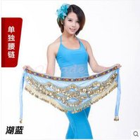 Wholesale 5lot CCA3394 High Quality Candy Color Belly Dance Costume Hip Scarf Waistband Wrap Golden Coins Belt Velvet Skirt Dress Belly Dance Belt