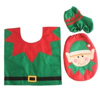 accessories for bathroom decoration - Modern Funny Xmas Bathroom Christmas Cloth Santa Elf Toilet Seat Cover Set and Rug Decoration for Home Accessories Gift Supplies