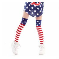 american jazz - 2016 Spring Street girls Knee Long Cotton Socks American Flag Star Stripe High Tube Sock Hip Hop Jazz Socks For Girl