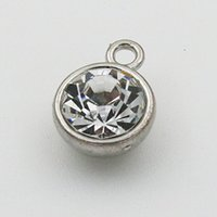 april birthstone - Alloy Antique Silver Plating Round April Month Birthstone Charms Jewelry Crystal Charms mm AAC733