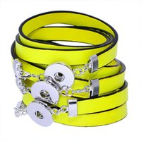 belt straps with snaps - Noosa circular fluorescent color PU leather strap with snap button lobster clasp DIY personality bracelet