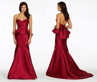 Cheap Burgundy Color 2015 Women Mermaid Evening Dresses With Peplum Sweetheart Neckline Simple Satin Formal Gowns Dress To Party ZC