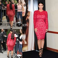 Reference Images Crew Lace Sexy Kim Kardashian Red Lace Celebrity Dresses Sheath Crew Neckline Knee Length Zipper Back Long Sleeves Evening Dresses Red Carpet Gowns DY