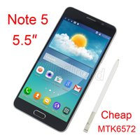 Wholesale 2015 HDC Note MTK6572 Dual Core inch Android N9200 Note5 Smartphone Show GB ROM GPS G LTE WCDMA Smart Cell Phone DHL