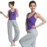 Wholesale 2015 New Arrivals Women Lady Yoga Outfits Sets Modal Suits Bloomers Vest Shirt Soft Comfortable Various Colors