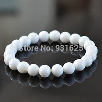 beautiful slaps - Pretty mm White Tridacna Round beads Elastic bracelet link stretch Beautiful Fashion bracelet bangle