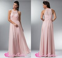 Cheap Pink Long Sweetheart Bust Bridesmaid Dresses with Halter neckline Chiffon A line Sleeveless Ruffled Cheap Girls Prom Party Gowns Hot sale