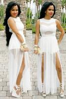 plus size clubwear - 2015 High Split Women Dress Evening Party Elegant Maxi Dress Sexy White Mesh Party Clubwear Long Dress Plus Size Women Clothing