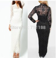 Wholesale sexy lingerie white black lace long full lace dress HOT costume sexy uniform