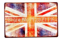 Wholesale UK Flag Route pub decor vintage Metal Tin Sign Decoration For Bar