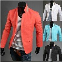 Wholesale Mens Casual Suits Blazers Slim Fit Stylish Two Button Suit Blazer Jackets Coats Men s casual a buckle collar spell color linen suit jacket