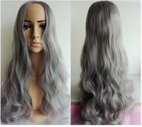 Wholesale Sexy Gray Wigs - 2016 New smoke gray wig Synthetic long Curly hair 70cm sexy women's cosplay party wig free shipping