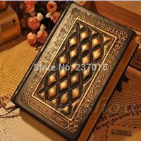 paper notebook - New Vintage Classic Retro Embossed Plaid PU Leather Framed Notebook Diary Journal