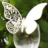 Wholesale 50 pieces Butterfly Place Escort Wine Glass Paper Card for Wedding Party Champagne cup decorations Many colors