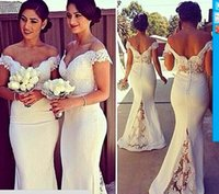 Cheap 2015 Mermaid Fashion Bridesmaid Dresses Sexy Off the Shoulder Lace Appliques Covered Button Wedding Party Dress 2015 Maid of Honor Gowns