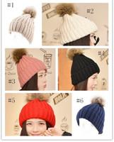 balls headgear - 2015 New Unisex Beanie Caps Soft Knitted Hat With Fur Ball women ball cap Headgear Men Casual Pon Girl Bonnet Gift QF