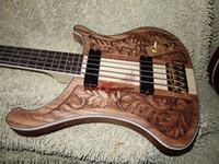 bass sculpture - new strings Bass Guitar wood Manual sculpture Electric bass colored