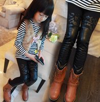 Cheap Wholesale-girls leather leggings children thicken boots pants kids fleece trousers pants winter clothing