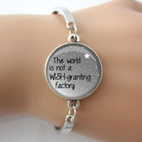 art design book - quot The world is not a wish granting factory quot Art Bangle Book Quote Charm Bracelet Hot Selling Letter Design New Fashion