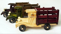 antique toys trucks - White wooden truck toy car model crafts
