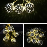 Wholesale Hot New LED Moroccan Metal Balls String Fairy Lights Warm White Garden Xmas Party Decorations Use Battery order lt no track