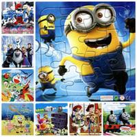 Wholesale 3IN1Paper Cartoon Puzzle Kids Toy Anime Baymax doraemon Sophia Thomas minion Mickey Plants vs zombies jigsaw Puzzle