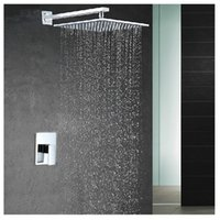 Wholesale 2016 NEW water conservation abs inch shower head brass chrome wall mounted rainfall shower faucet set Embedded box mixer tap