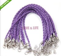 Wholesale cm Length Cheap Charm Man Made Purple Leather Braided Cord Bracelet With Clasp Fit Fashion Jewelry Making