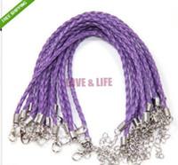 Precio de Broches para los encantos-Envío Gratis 18cm Longitud 100pcs Man-Made barato encanto púrpura de cuero trenzado del cordón Joyería Making pulsera con cierre Fit Moda
