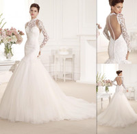 brides made - 2015 Backless Long Sleeves Wedding Dresses Mermaid Vintage Ivory Lace Bridal Gowns High Neckline Open Back Country Bride Dress Custom Made