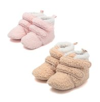 boots baby fur - Winter Warm Fur Snowboots Infant Baby Cotton Prewalker Moccasins First Walker Shoes Antiskid Soft Sole Magic Tape Boots Pink Khaki K2975