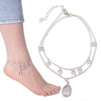 Wholesale 1PC Ankle Bracelet Zircon Crystal Glass Double Layer Chain Barefoot Sandals Sexy Foot Jewelry Summer Style