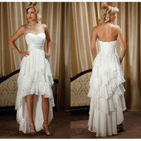 white high low dresses - New Arrival Short Front Long Back Sweetheart Chiffon High Low Country Western Wedding Dresses LS092197