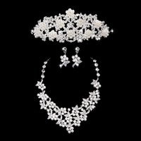 Wholesale Three Pieces Bridal Jewelry with Pearls High Quality Wedding Set Silver Tiaras Earrings Necklace Hair Bridal Accessories with Rhinestones