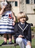 Wholesale Custom made black boy suits two Button Boy Tuxedos Notched Lapel Children Suit Kid Wedding Prom Suits two piece suit jacket vest tie