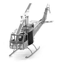 Wholesale Tuey Helicopter d model of miniature DIY metal nanometer metal three dimensional jigsaw puzzle silver