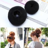 Wholesale Elegant Donut Bun Maker for Girls Black Doughnut Shaped Hair Ring Easy and Quick Maneuverability sizes