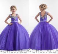 Wholesale RACHEL ALLAN Girls Pageant Dresses for Little Kids Flower Girl Dresses Floor Length Crystals Beaded Glitz Cupcake Dresses J1203
